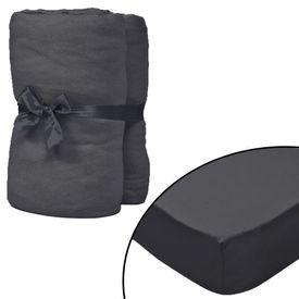 Husă de pat cu apă 2 buc., 2 x 2 m, bumbac jerseu, antracit