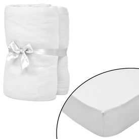 Husă de pat cu apă 2 buc., 200 x 200 cm, bumbac jerseu, alb