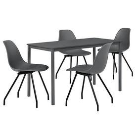 Masa bucatarie/salon design elegant (120x60cm) - cu 4 scaune elegante (gri inchis)
