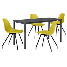 Masa bucatarie/salon design elegant (140x60cm) + 4 scaune galben mustar elegante / scaun bucatarie/salon