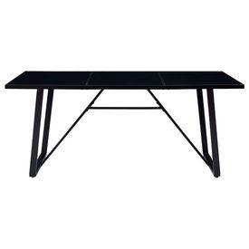 Masă de bucătărie, negru, 180 x 90 x 75 cm, sticlă securizată