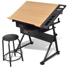Masă de desen cu blat reglabil cu scaun 2 sertare