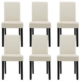 Masa eleganta Ina, MDF efect stejar - maro deschis,140 x 90 cm - cu 6 scaune imitatie de piele, crem cu picioare negre