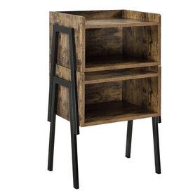 Masuta Dana stivuibila, 52 x 42 x 35 cm, 10Kg, design dreptunghiular, PAL/metal, efect lemn/negru