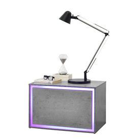 Noptiera iluminata cu LED Luminosa, 59 x 36 x 38 cm, MDF, efect beton, cu telecomanda