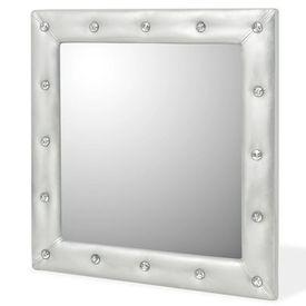 Oglindă de perete, piele artificială, 60x60 cm, argintiu lucios