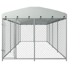 Padoc de exterior cu acoperiș pentru câini, 8 x 4 m