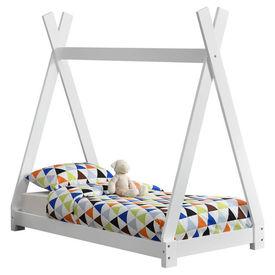Pat copii Indira 1, 148 x 76 x 140 cm, material design lemn de brad, alb mat