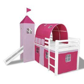 Pat etajat pentru copii, cu tobogan și scară din lemn, roz