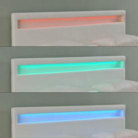 Pat tapitat modern - cu saltea si LED pentru un ambient placut 160x200cm - alb