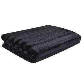 Pătură din blană artificială 150 x 200 cm, Neagră