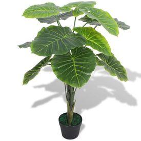 Plantă artificială Taro cu ghiveci, 70 cm, verde