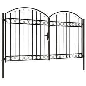Poartă de gard dublă cu vârf în arcadă, negru, 300x200 cm, oțel
