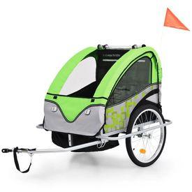 Remorcă de bicicletă & Cărucior copii 2-în-1, verde și gri