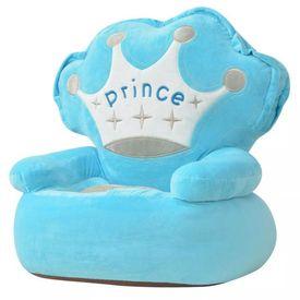 Scaun din pluș pentru copii, Prince, albastru