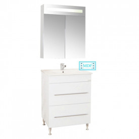 Set Baza, lavoar baie GN0541 cu sertare si oglinda GN0301 - 60 cm alb