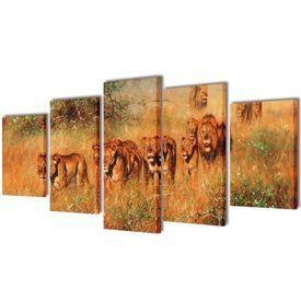 Set de tablouri de pânză imprimate lei 100 x 50 cm