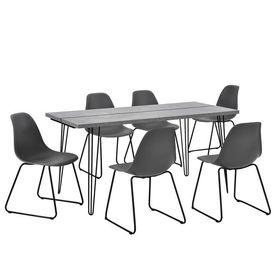 Set design masa bucatarie cu 6 scaune, 160 x 75 x 77cm, efect beton/gri