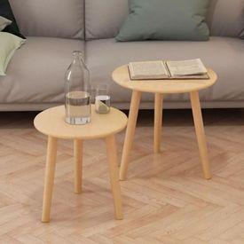 Set masă laterală 2 piese, lemn masiv de pin, maro
