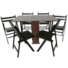 Set masa pliabila Practic wenge cu 6 scaune