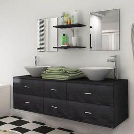 Set mobilier baie format din 7 piese cu chiuvete incluse, Negru