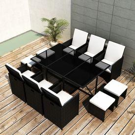 Set mobilier de exterior 27 piese, poliratan, negru