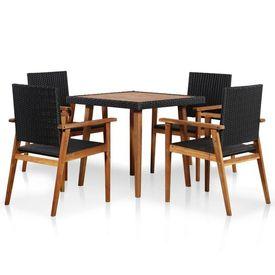 Set mobilier de exterior, 5 piese, negru și maro, poliratan