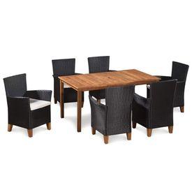 Set mobilier de exterior 7 piese poliratan și lemn masiv acacia