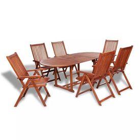 Set mobilier de exterior cu masă extensibilă, 7 piese, lemn