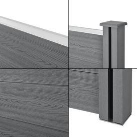 Set Olimp gard WPC 3 panouri patrate si 1 panou inclinat AAWP-9903, 183 x 625 cm, lemn/plastic, gri