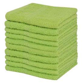 Set prosoape oaspeți, 10 buc, bumbac, 360 g/m², 30x30 cm, verde