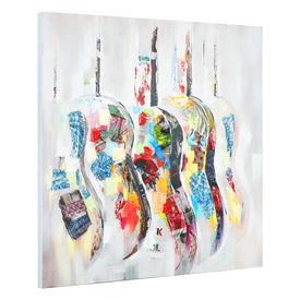 Tablou pictat manual - chitari - panza in, cu rama ascunsa - 100x100x3,8cm