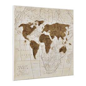 Tablou pictat manual - harta lumii - panza in, cu rama ascunsa - 100x100x3,8cm