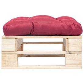 Taburet de grădină din paleți cu pernă roșie, natural, lemn FSC
