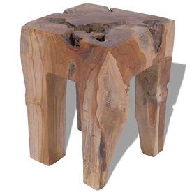 Taburet din lemn de tec solid, 30 x 30 x 40 cm