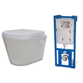 Toaletă WC din Ceramică Suspendată pe Perete Baie Rezervor Ascuns Alb