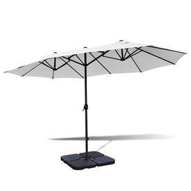 Umbrelă cu bază portabilă, 2,7 x 4,6 m, aluminiu, alb nisipiu