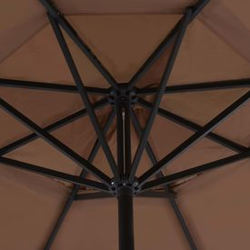 Umbrelă soare exterior cu stâlp aluminiu gri taupe 500 cm