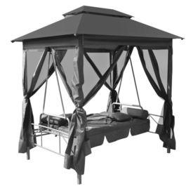 vidaXL Balansoar de exterior cu baldachin antracit 220x160x240 cm oțel