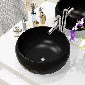 vidaXL Bazin chiuvetă ceramic, rotund, negru, 40 x 16 cm