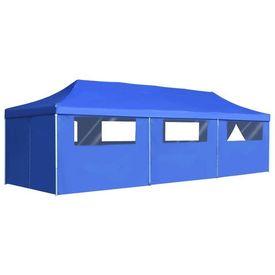 vidaXL Cort petrecere pliabil cu 8 pereți laterali, albastru, 3 x 9 m