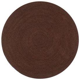 vidaXL Covor manual, maro, 120 cm, iută, rotund