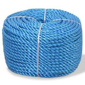 vidaXL Frânghie împletită polipropilenă, albastru, 250 m, 16 mm