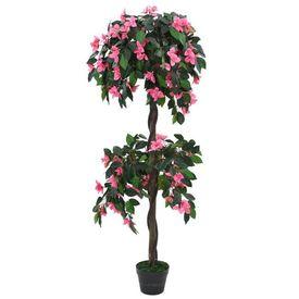 vidaXL Plantă artificială Rododendron cu ghiveci 310 cm Verde și roz