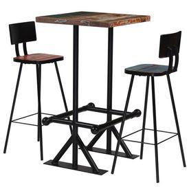 vidaXL Set de bar, 3 piese, lemn masiv reciclat, multicolor