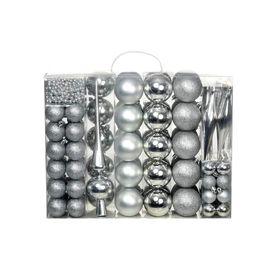vidaXL Set globuri de Crăciun 113 piese, 6 cm Argintiu