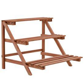vidaXL Stativ de plante cu 3 rafturi, lemn de cedru, 48x45x40 cm