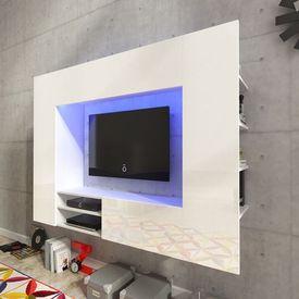Vitrină lucioasă cu unitate TV și iluminare LED, 169,2 cm, Albă