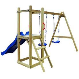 Set joacă tobogan, scară, leagăne 242x237x175 cm lemn de pin FSC
