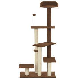 Ansamblu pentru pisici, stâlp cu funie de sisal, maro, 125 cm
